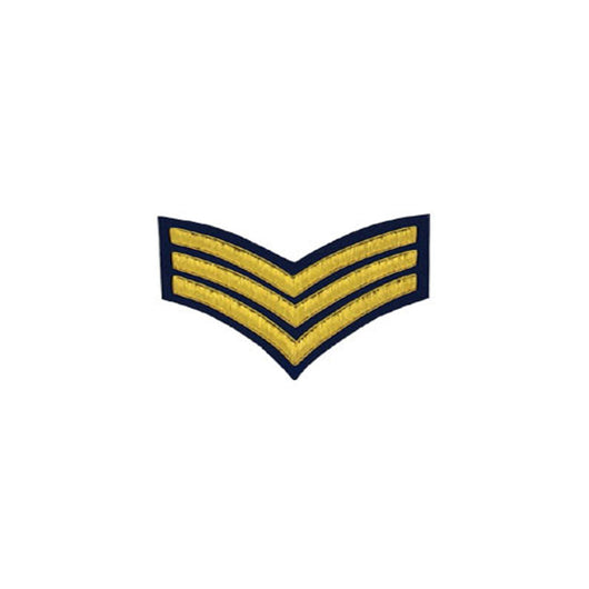 3 Stripe Chevrons Badge Gold Bullion On Blue
