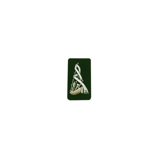Bagpipe Badge Silver Bullion On Green