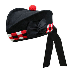 Black Glengarry Hat White Red Black Dicing