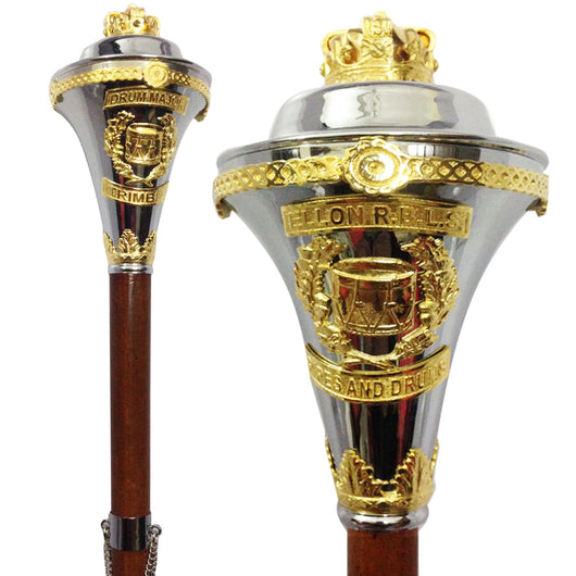 Custom Made Drum Major Mace Stave With Scrolls & Crown Top