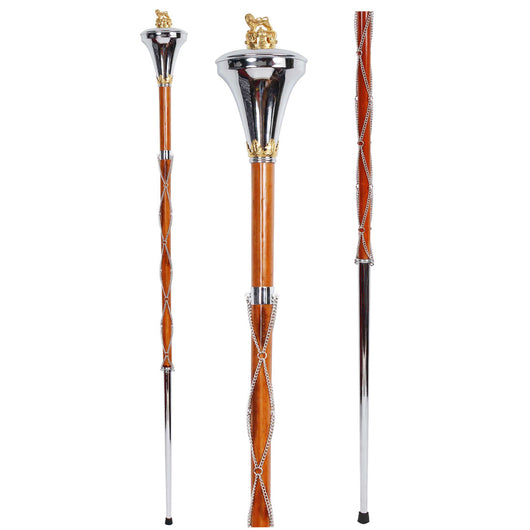 Drum Major Mace Stave Chrome Flat Head With Gold Lion And Crown Top