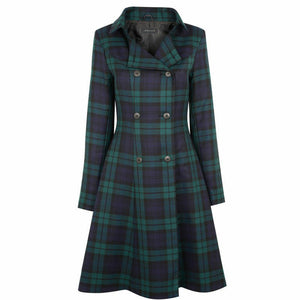 Ladies Kate Coat In Black Watch Tartan
