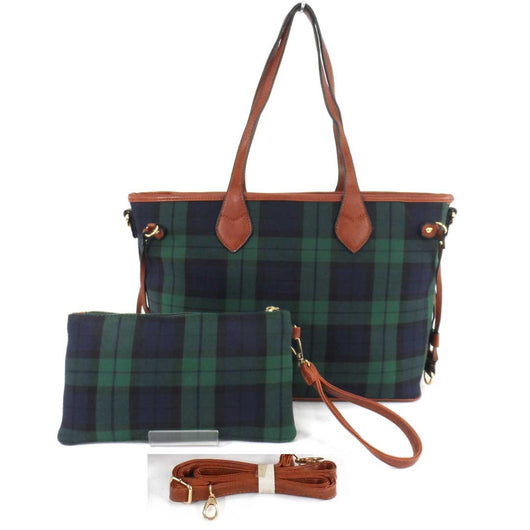 Ladies Tartan Shoulder Bag And Clutch Purse