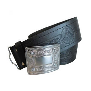 Masonic Embossed Kilt Belt In Leather