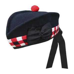 Navy Glengarry Hat With White Red Black Dicing