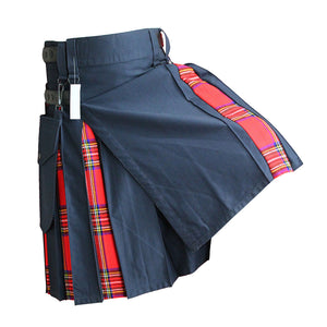 Hybrid Kilt Navy Blue With Tartan