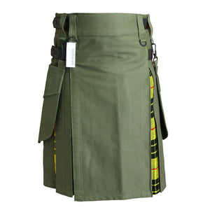 Hybrid Kilt Olive Green With Tartan