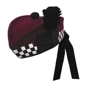 Maroon Glengarry Hat With White Maroon Dicing