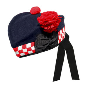 Navy Glengarry Hat With White Red Dicing