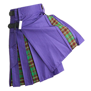 Hybrid Kilt Purple With Tartan