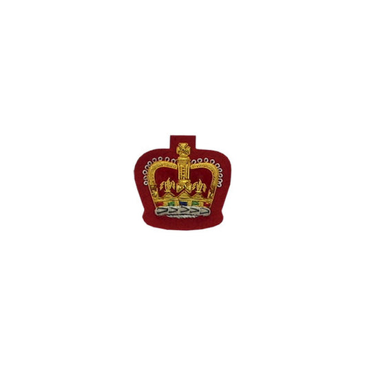 Queens Crown Badge Gold Bullion On Red