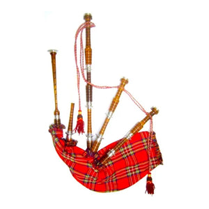 Rosewood Highland Bagpipe Natural Finish Fully Thistle Engraved