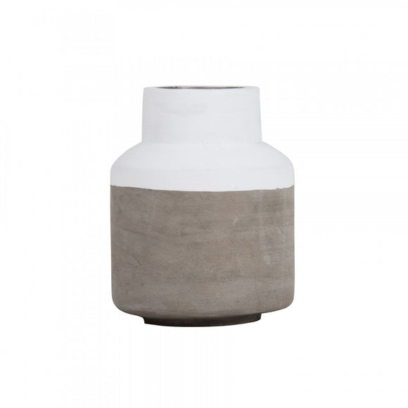 Concrete Vase Short Grey/White