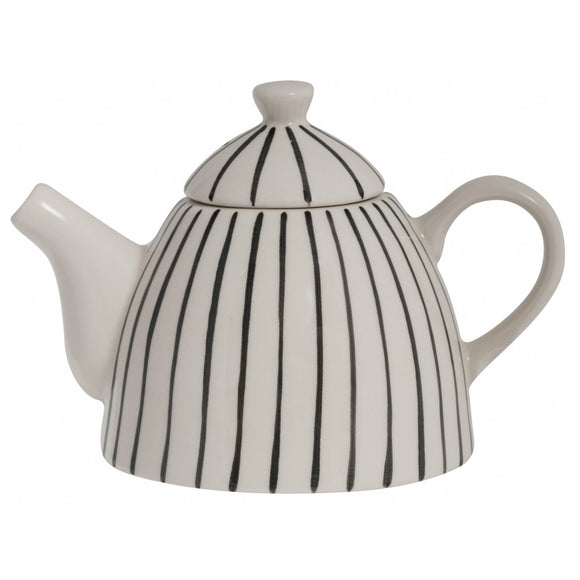 Black Ceramic Stripe Pattern Teapot