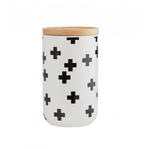 Black Ceramic Cross Pattern Tall Canister