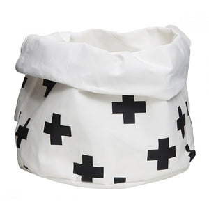 Wash Paper Storage Bag Medium Black Crosses