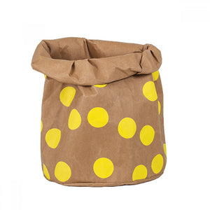Wash Paper Storage Bag XL Yellow Spots