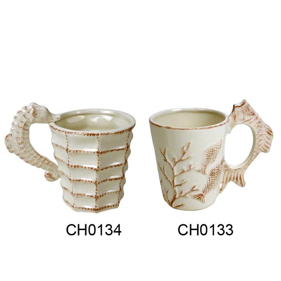 Dolomite Fish & Seahorse Cups - Set of 2