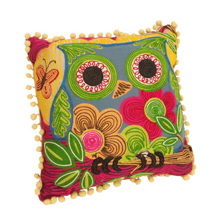 Square Cotton Appliqued Chain Embroidered Owl Cushion