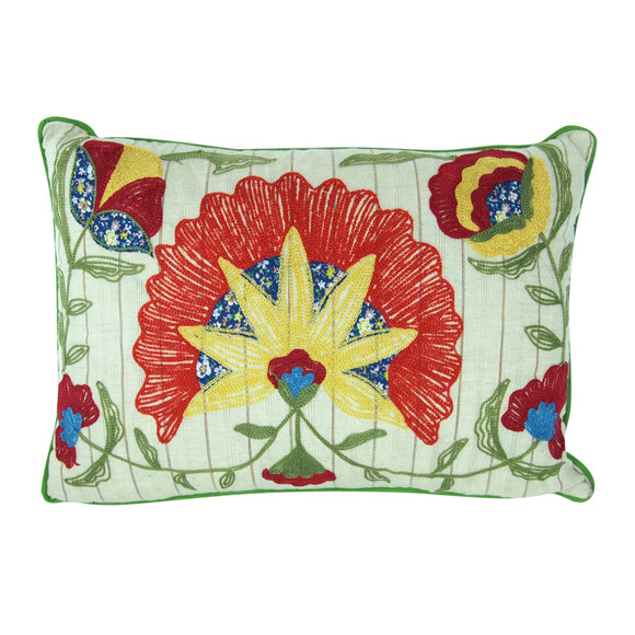 Rectangle Cotton Pillow with Embroidered Flowers - Style A