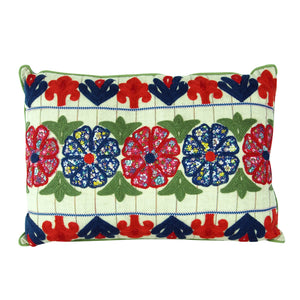 Rectangle Cotton Pillow with Embroidered Flowers - Style B