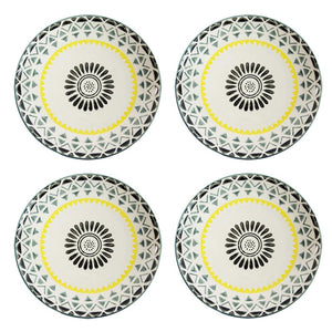 Stoneware Grey & Yellow Geometric Design Plate - Set of 4