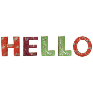 Wooden Hello Wall Word Sign