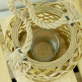 Small Bamboo & Glass Hurricane Candle Holder