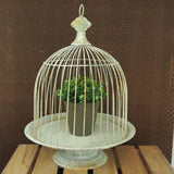 Distressed Metal Garden Birdcage with Stand