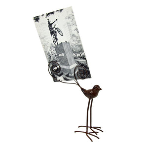 Metal Bird Card Holder with Wire Tail