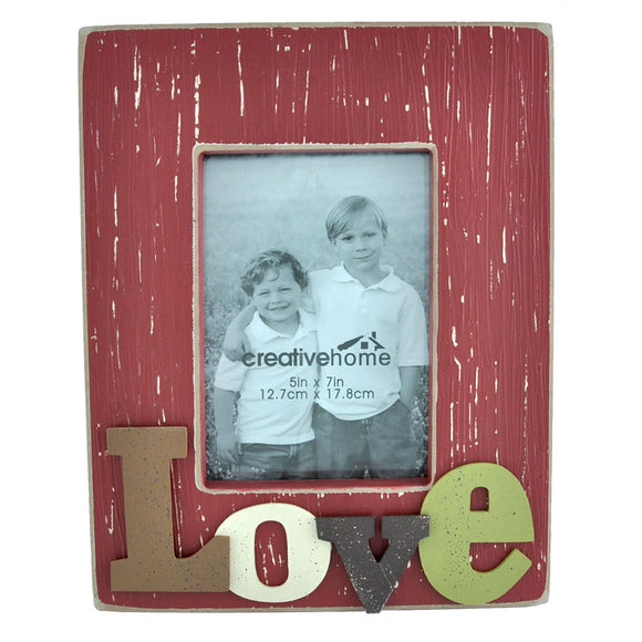 Rectangle Wooden Photo Frame with 3D Raised Letters - Love