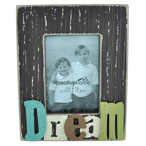 Rectangle Wooden Photo Frame with 3D Raised Letters - Dream