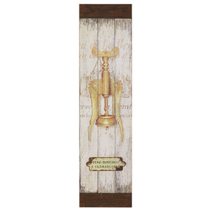 Wooden Wall Plaque with Vintage Cork Screw Image - Style A