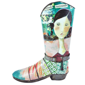 Rustic Tin Boot Flower Pot/ Vase - Gratitude Surrounds Her