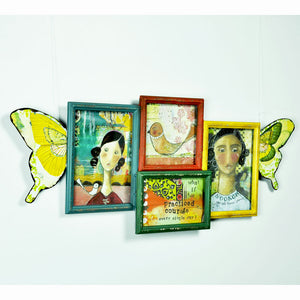 Wall Art Collage Photo Frames with Butterfly Wings Shabby Chic