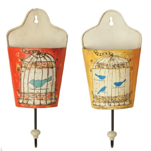 Metal Wall Hooks with Birdcage Image - Set of 2