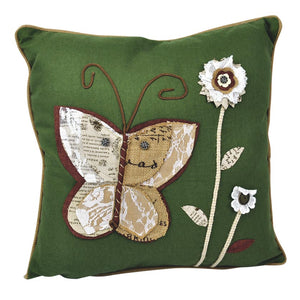 Linen & Polyester Embroidered Cushion - Green