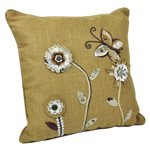 Linen & Polyester Embroidered Cushion - Brown