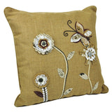 Linen & Polyester Embroidered Cushions - Set of 2