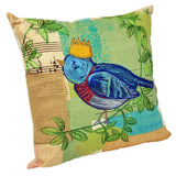 Square Cotton Cushion with Embroidery - Bird