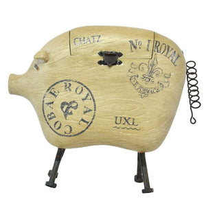 Cute Wooden Pig Sculpture/ Display - Rustic/ French Provincial/ Industrial
