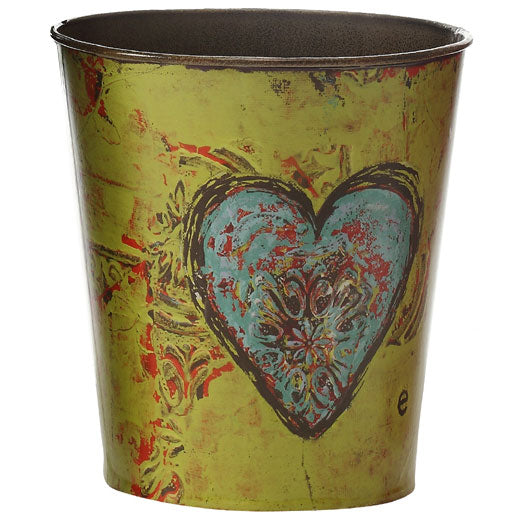 Round Tin Flower Pot - Love
