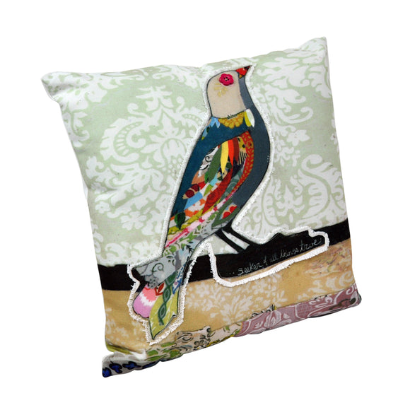 Canvas & Polyester Appliqued Cushion - Bird