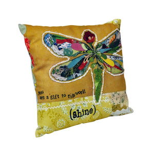Canvas & Polyester Appliqued Cushion - Dragonfly