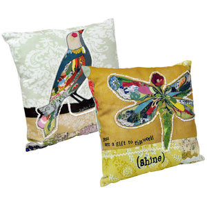 Canvas & Polyester Appliqued Cushions - Set of 2