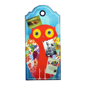 Metal Plaque with Owl Image & 3 Magnets