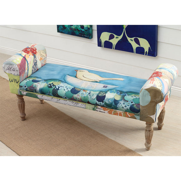 Wood & Fabric Upholstered Bench with Bird Image