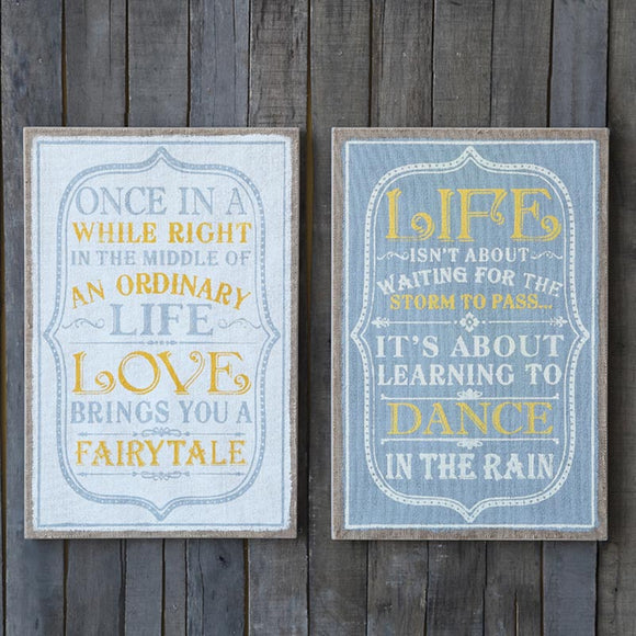 MDF Life Message Wall Art Set of 2