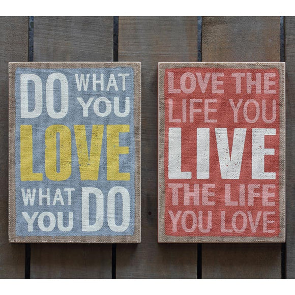 MDF Love Message Wall Art Set of 2