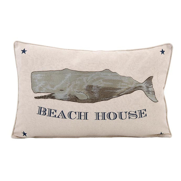 Cotton & Linen Embroidered Whale Beach House Pillow